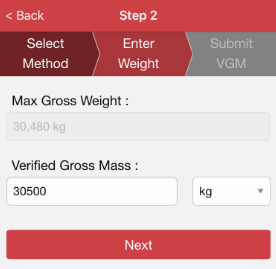 If Method 1 is your choice for the weighing method: Max Gross Weight will be provided for your