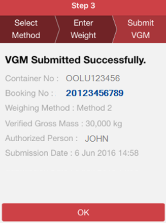 VGM is submitted successfully