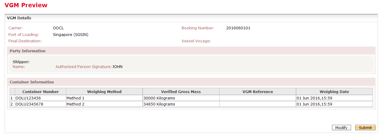 Verified Gross Mass VGM Submission 6 After clicking Validate, it will bring you to the VGM Preview