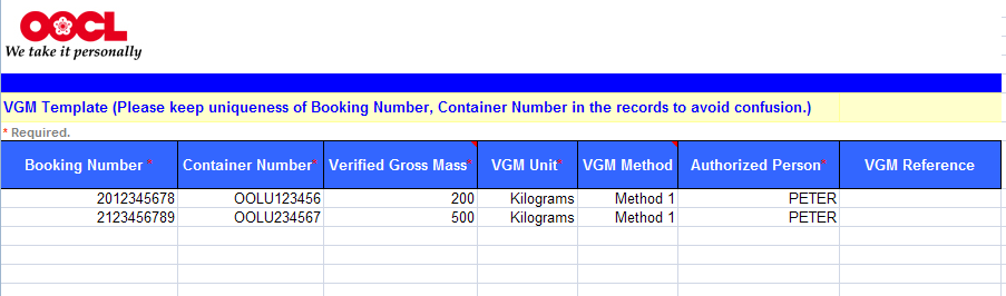 You can submit VGM in batch through excel upload Verified Gross Mass VGM Upload 1 Download the VGM template and fill up the form with VGM information 2
