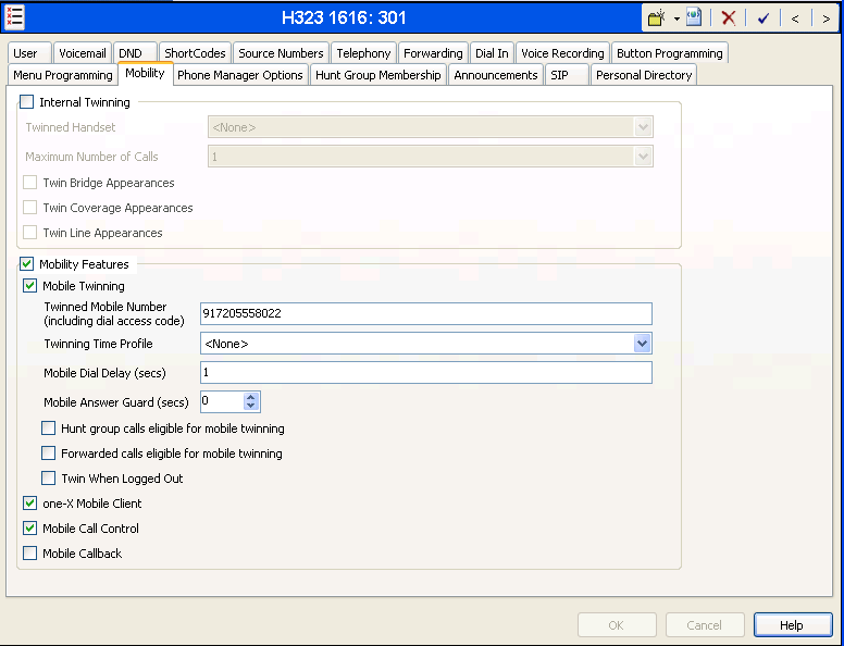 The following screen shows the Mobility tab for User 301. The Mobility Features and Mobile Twinning boxes are checked.