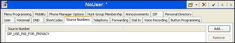 Avaya IP Office can be configured to use the P-Preferred-Identity (PPI) or P-Asserted-Identity (PAI) header to pass the actual calling party information for authentication and billing.