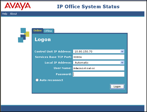 The following screen shows an example Logon screen.