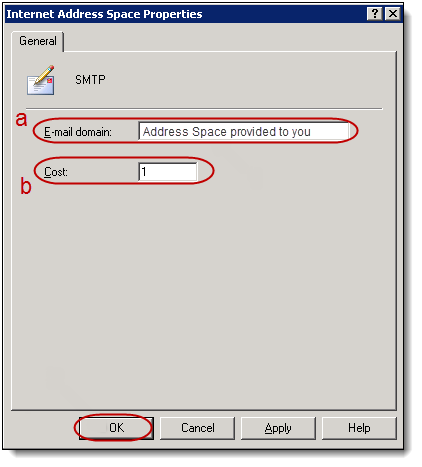 9. Type the Address Space provided to you in the Email Domain field (a), in the Internet Address Space Properties dialog box. Type 1 in the Cost field (b).