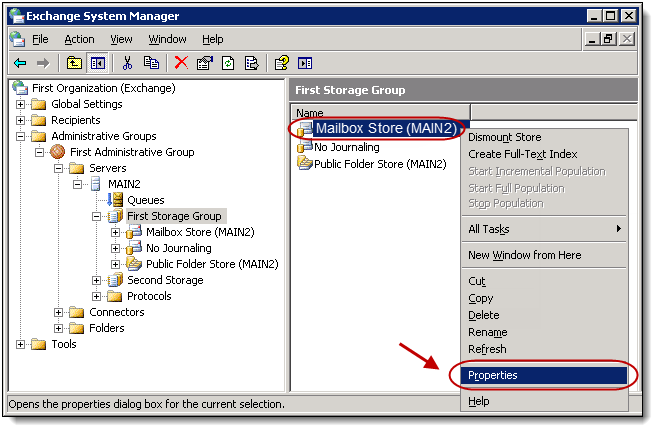 2. In the left navigation menu, select Servers, select *your server name and then select the Storage Group that contains the mailboxes to which you wish to apply journaling.
