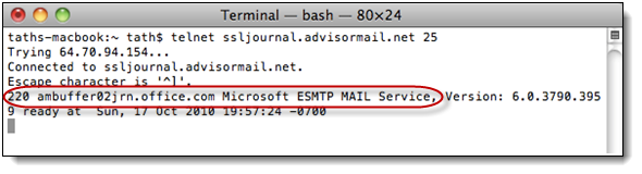 a. Issue telnet to smarthost (i.e. telnet ssljournal.advisormail.net 25) this should return a 220 banner, seen in the figure below. 6. When adding/removing SMTP connector(s).