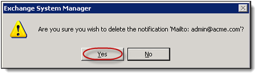 6. Right-click any notification items used for journaling monitoring from within the list. Select Delete from the drop-down menu. In this example, the Main 1 server item. 7.