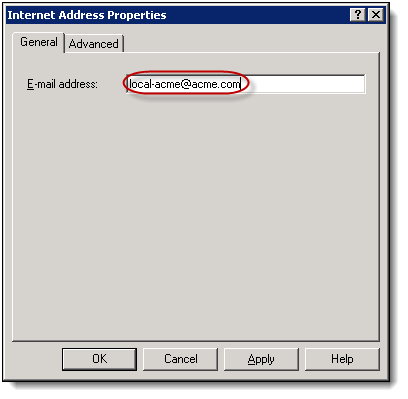 6. Type the journaling address provided to you in the E-mail address field on the General tab of the Internet Address Properties window.