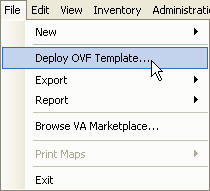 4. To begin the import process, click File and select Deploy OVF Template. 5.