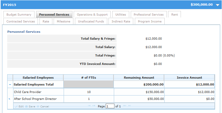 9. Double click on the existing row Salaried Employee to activate it and enter the adjusted value in the Invoice