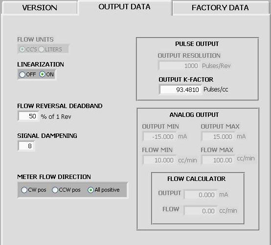 Output Data Screen The Output Data tab provides access to the most commonly adjusted parameters for the transmitter.
