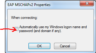 9. Uncheck the Automatically use my Windows logon name if already checked and then click on the