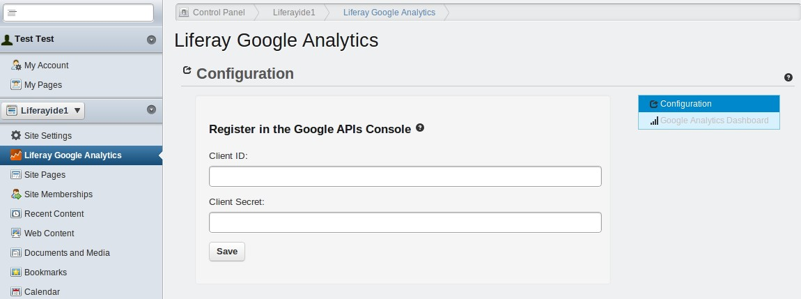 Configuration Configure the Liferay-Google-Analytics portlet In the left panel, under the portal name select Liferay Google Analytics.
