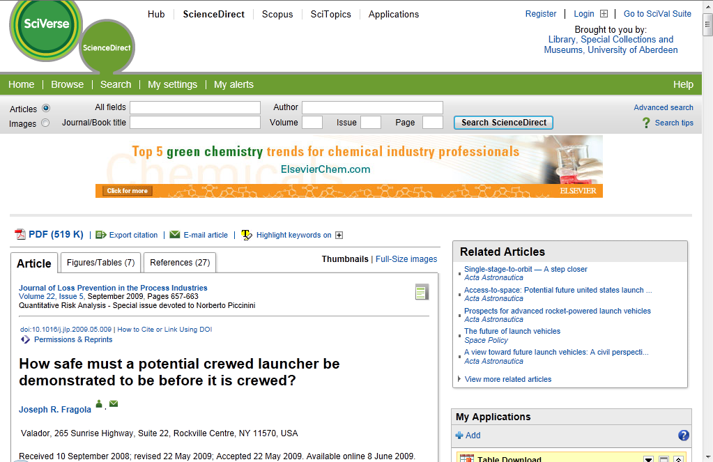 ScienceDirect site: extra services e.g.
