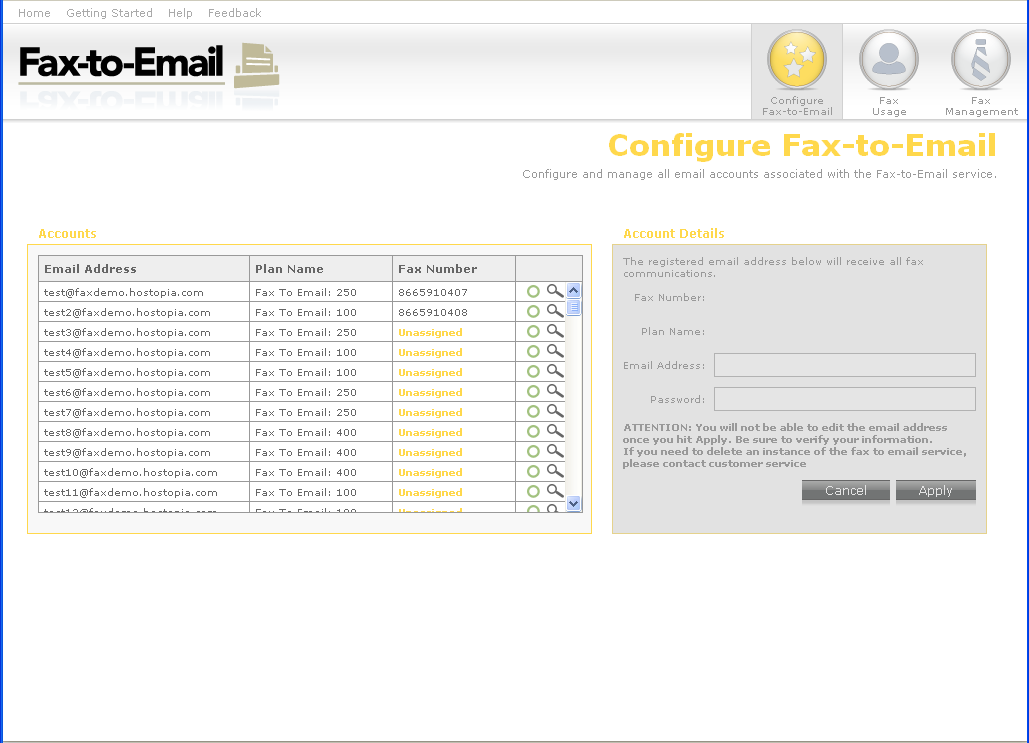 2.2 Configuring the Fax to Email Wizard In your first session of Online Fax within the Administration Panel, the Configure Fax to Email section will require you to enter in Online Fax users.