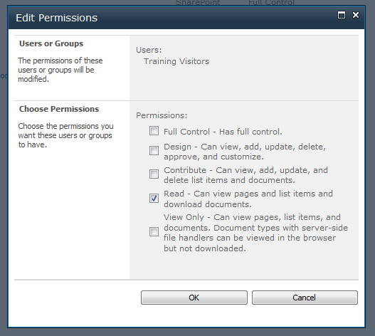 Edit User Permissions The Edit User Permissions dialog allows you to set the permission levels allowed by the user or group. This is the same dialog as the Give Group Permission to this Site dialog.