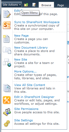 Basics Definitions: Site Collection This is your base site. Everything you do in your SharePoint site happens under the site collection.