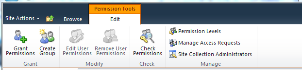 Site collection permissions can be accessed through the Site Actions Menu The ribbon for the site permissions page allows you to do the following: Grant Permissions Create