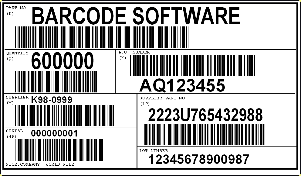 AIAG label standard AIAG (Automotive Industry Action Group) has standardized a barcode protocol for shipping labels, automotive parts, and other applications.