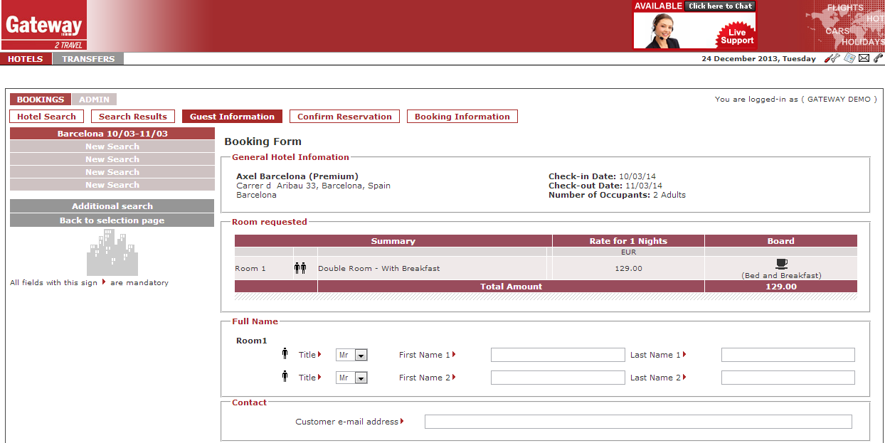 2.3 Guest information screen Once you selected a hotel and clicked Book it, you arrive on the Guest Information screen.