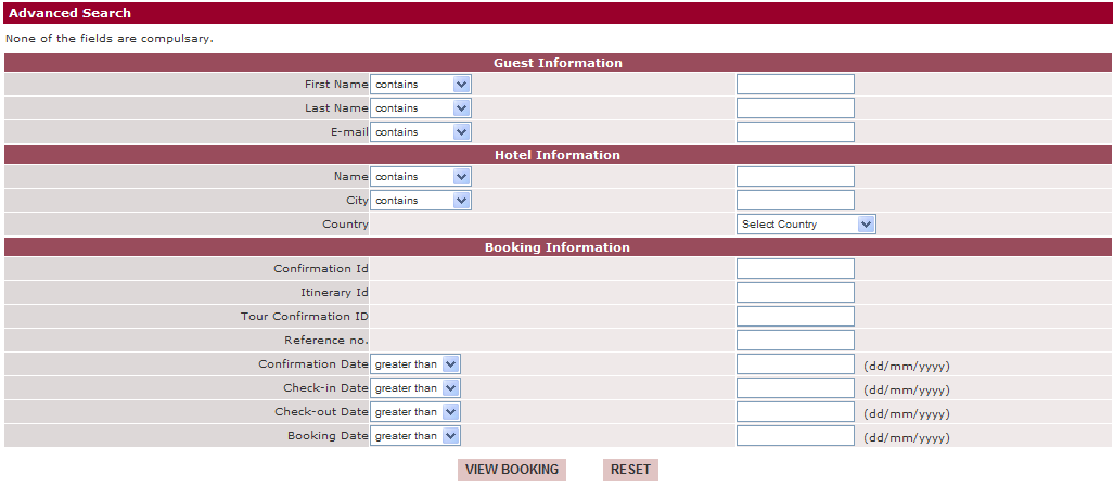 Search a booking To find the correct reservation in a long list, you can search in different ways: View List : general summary of all reservations View by Confirmation Id : search by confirmation
