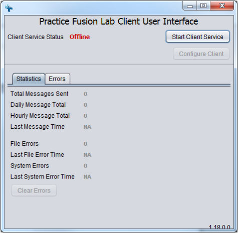 Figure 3: Practice Fusion API Client User Interface To close the user interface, click X. Starting the API Client Service To start the client service from the UI, click Start Client Service.