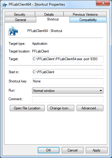 1. Right-click the shortcut and select Properties from the context menu. 2. Add the -port option with the desired port number at the end of the value in the Target field.