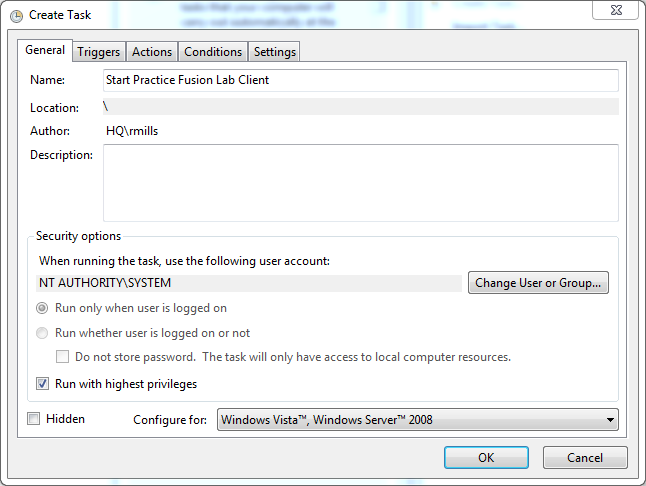Figure 8: Create Task dialog 4. Click the Triggers tab, click New, and do the following: 1. Select At startup from the Begin the task drop-down menu. 2. Select the Delay task for check box. 3.