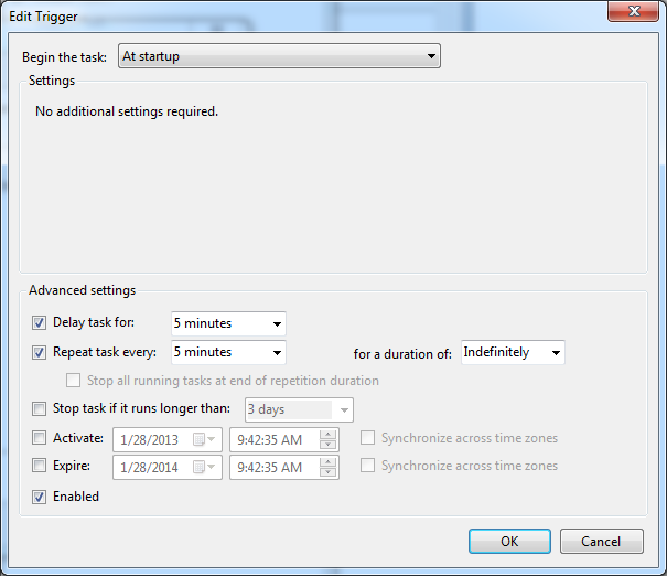 Figure 9: New Trigger dialog 7. Click OK. 5. When returned to the Create Task dialog, click the Actions tab, click New, and do the following: 1. Click New. 2.