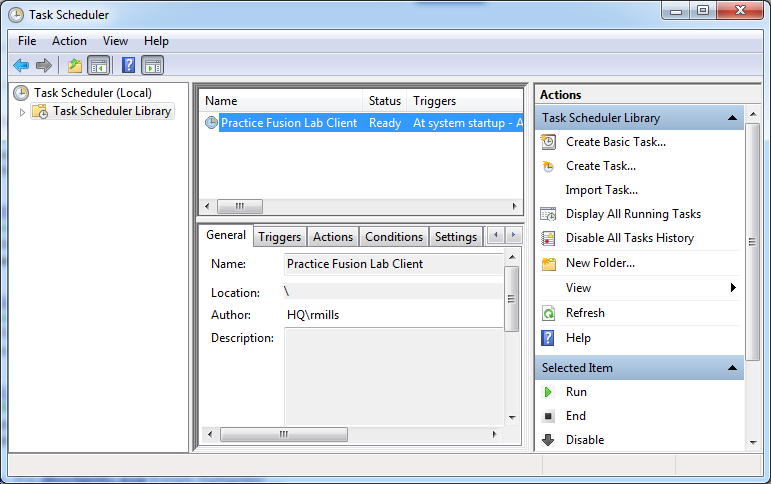 Figure 11: Task Scheduler window 8. Select the task you created and confirm that it is configured with the desired settings.