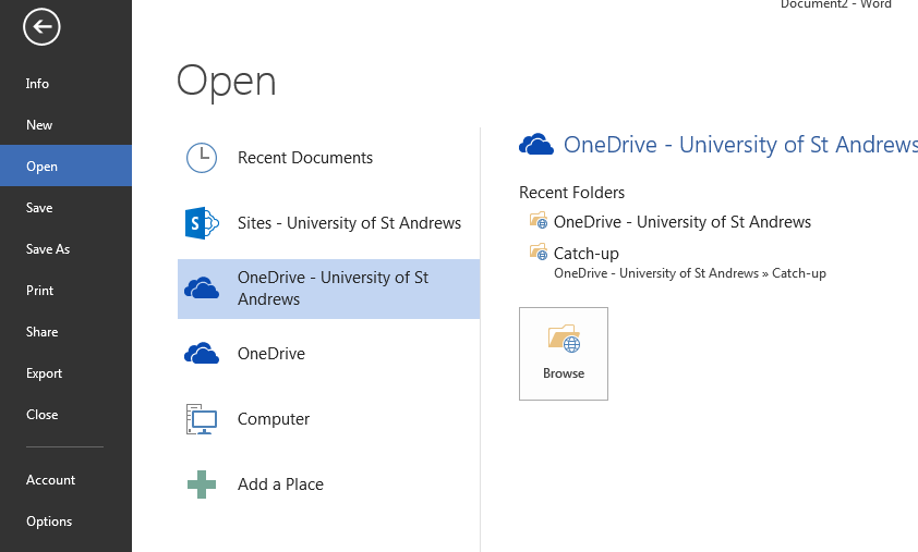 Open OneDrive Documents from Office 2013 Applications OneDrive files can be accessed directly from the Open and Save menus in all the desktop Office 2013 applications. In the application: 1.