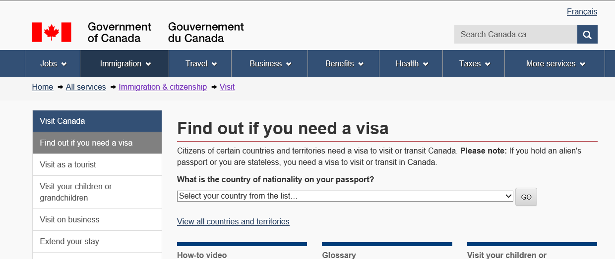 Customs and Immigration How do I obtain a visa? Please visit the Government of Canada website www.cic.gc.