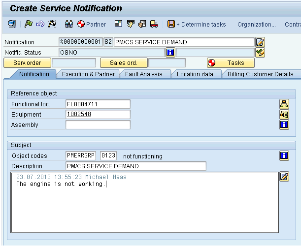 Create manually a PM/CS Notification The user creates a PM/CS notification in order to document the event