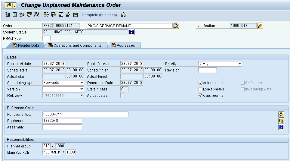 Automatically Created Work Order The work