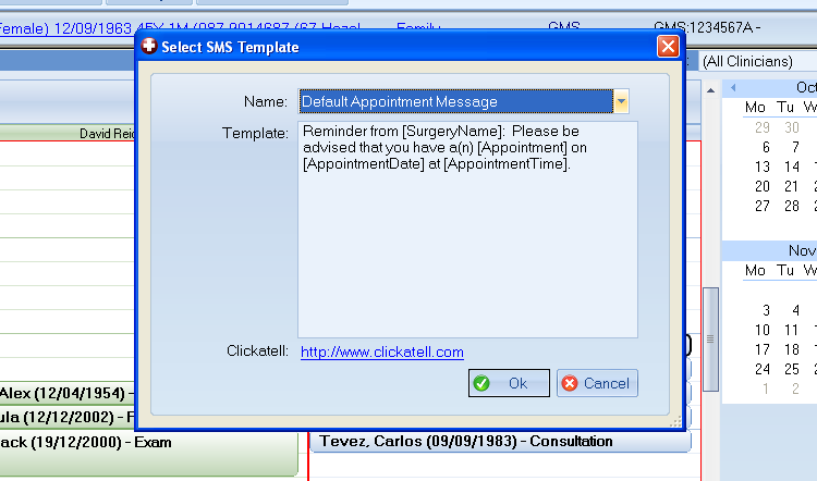 Texting Appointments: To send an SMS message to a patient that has an appointment open the planner in the appointments module.