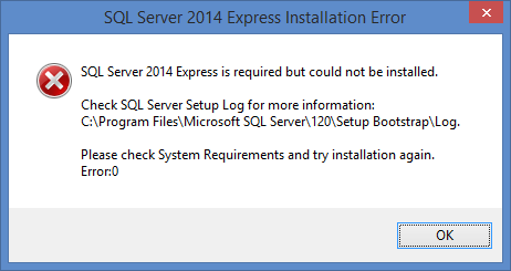 For Completed System installations or upgrades, you will see the SQL Server installation progress dialogs. If SQL Server installation fails, you will see an error message like this.