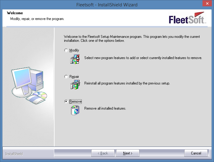 Uninstallation To uninstall Fleetsoft software we recommend that you run the installation setup file and choose Remove. Or you can uninstall the program using Windows Control Panel.