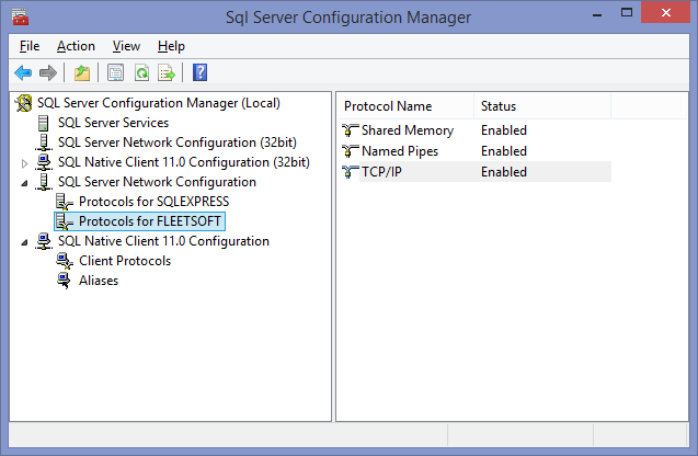 SQL Server Configuration Manager Press the windows start button, type SQL Server Configuration Manager, and press Enter. To access SQL Server from the network, verify SQL TCP/IP protocol is Enabled.