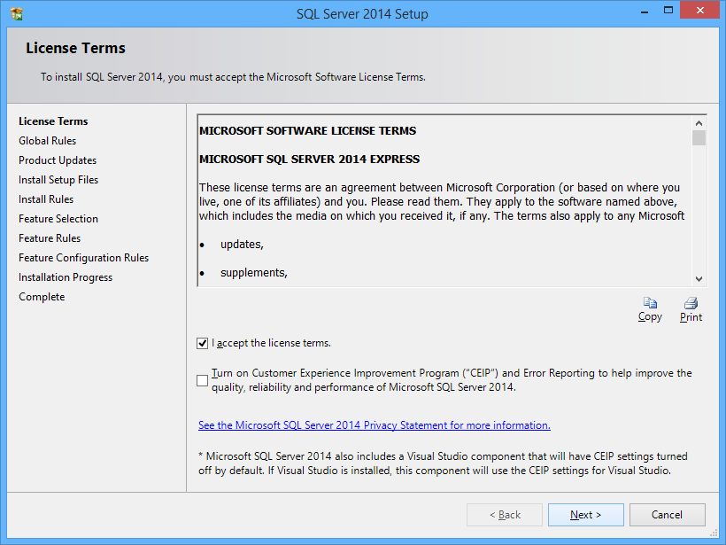 Installing a custom instance of SQL Server Express for FleetSoft software The following screenshots show a step by step installation of SQL Server 2014 SP1 Express.