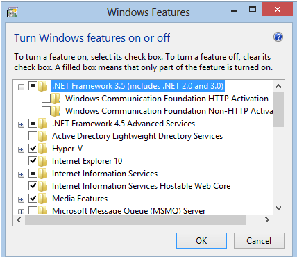 How to enable the.net Framework 3.5 in Windows 8, 8.1, Server 2012, and Server 2012 R2 The following prerequisites are required to enable the.net Framework 3.5 in Windows 8 and Windows Server 2012: An Internet connection for access to Windows Update.