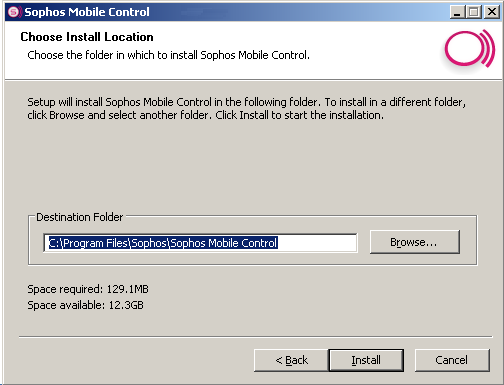 Sophos Mobile Control 2. If all requirements are fulfilled, click Next. The Choose Install Location dialog is displayed. Choose the destination folder and click Install to start installation. 3.