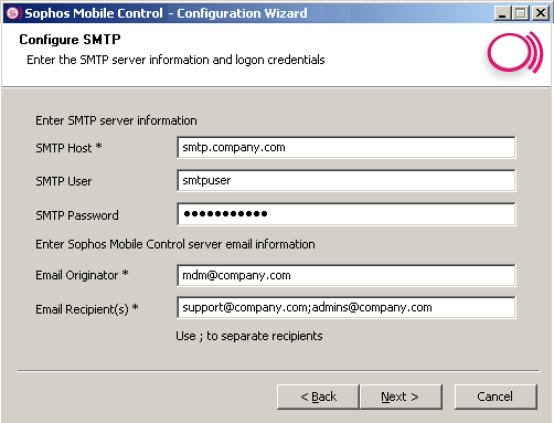 Sophos Mobile Control 11. In the next step, you enter SMTP information and logon credentials. Note: This is required for sending emails to new users to provide them with logon credentials.