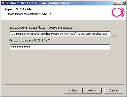 Sophos Mobile Control 15. If you have selected Create self signed Certificate, the following dialog is shown. Enter the appropriate certificate information.
