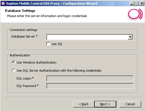 Installation guide Click Next to specify server information and logon credentials in the Database Settings dialog.