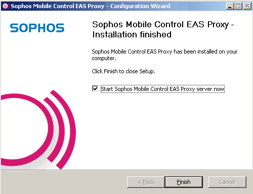 Installation guide 11. After installation has finished, the Sophos Mobile Control EAS Proxy Installation finished dialog is displayed.