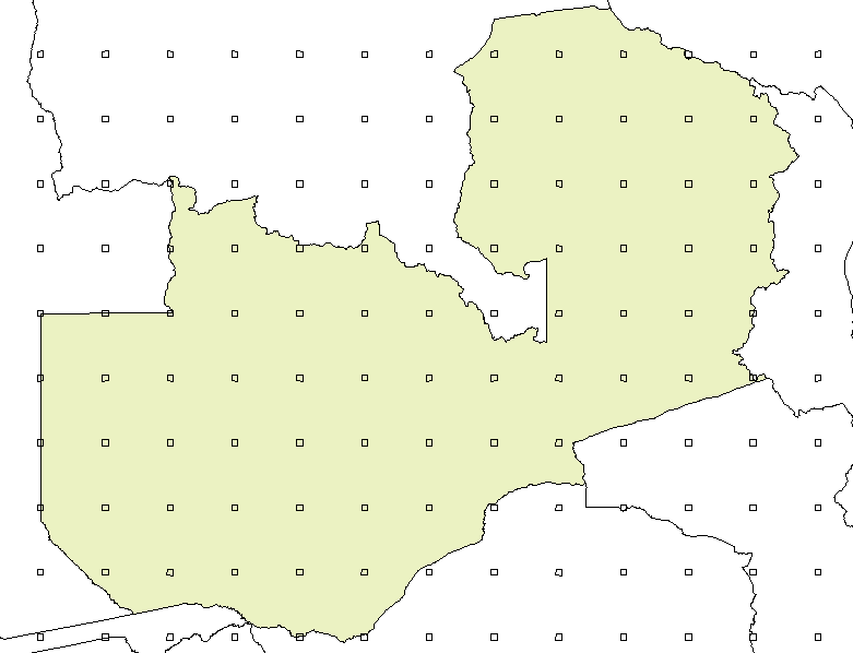 FAO JRC Global Remote Sensing Survey Systematic sampling grid - Zambia 1 degree grid 10 x 10 km squares ~ 100 km