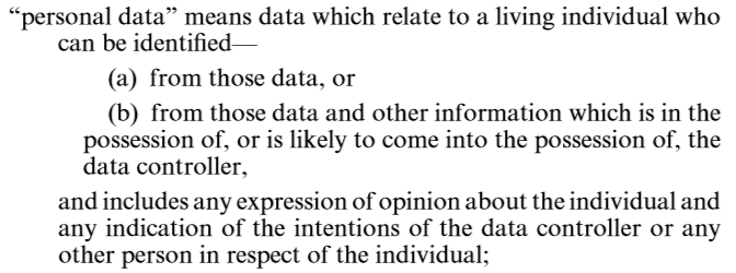 Definition of Personal Data & Data Subject Current definition - A