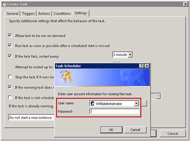 Ensure that the option If the running task does not end when requested, force it to stop is selected.
