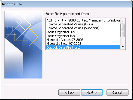 Select Outlook Data File (.pst) Browse to.