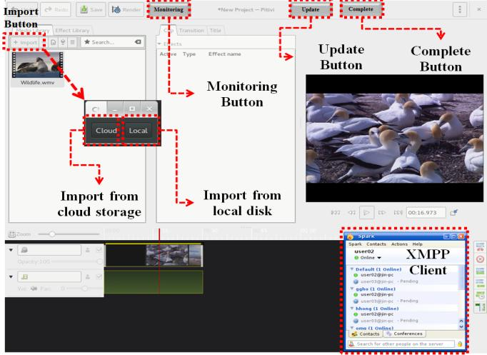Editing Tool To support a powerful and flexible video editing, we extend a popular open source video editing tool, Pitivi.